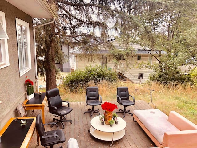 House backyard, 25,000 square feet with apple and cherry trees