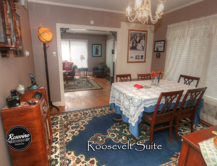 The Formal Dining Room nods back to the early days of  the Roosevelt Family