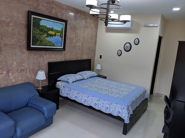 This is the first view of the room when you enter, you can see here the queen bed, the entrance of the bathroom and the AC unit.