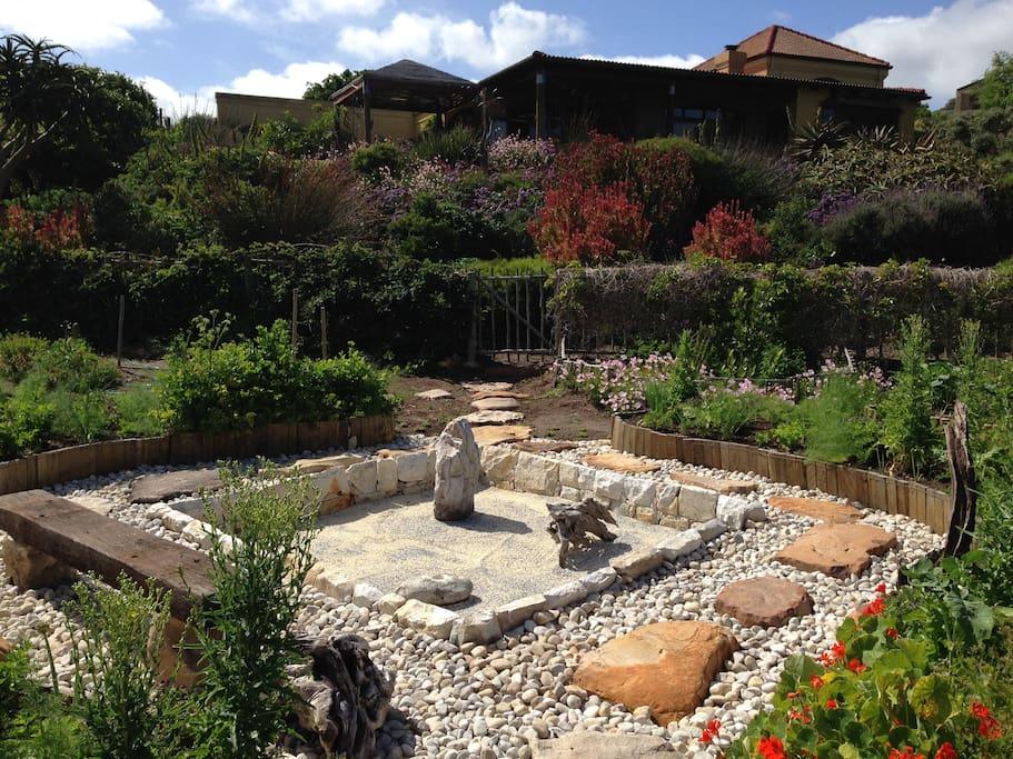 zen garden with house