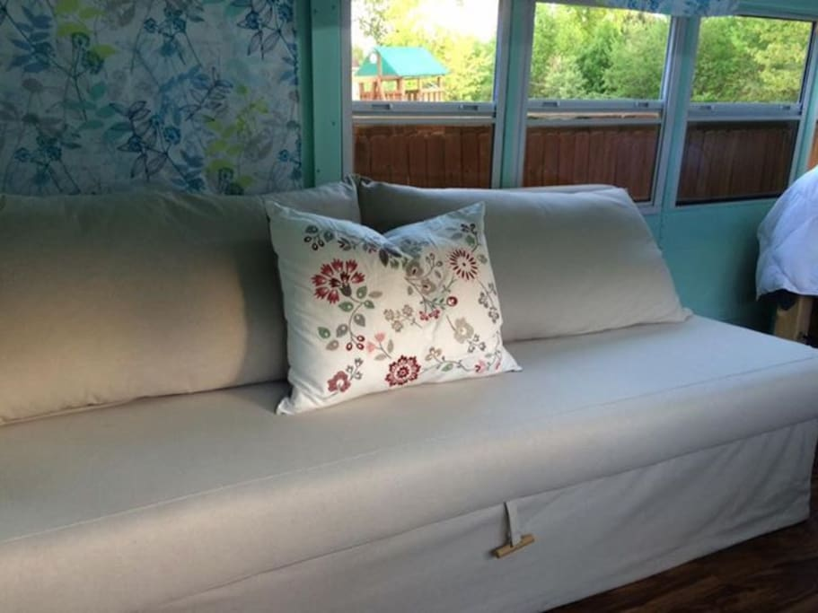 The sofa also converts into a queen size bed.