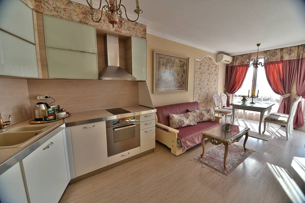 kitchen and guestroom