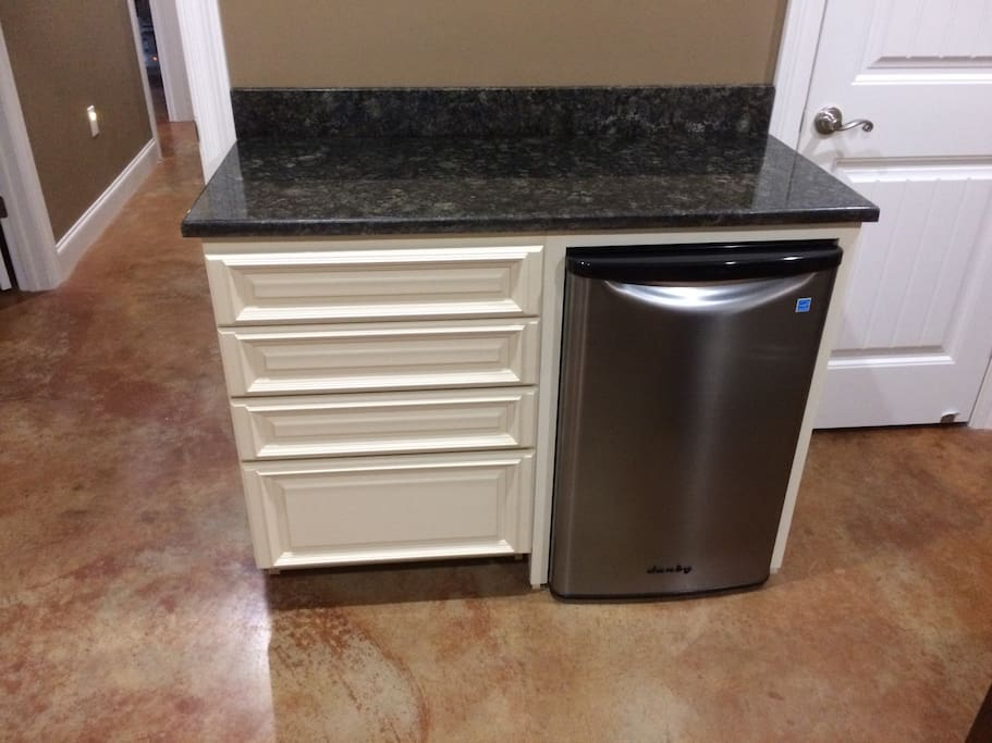 Mini fridge with storage drawers