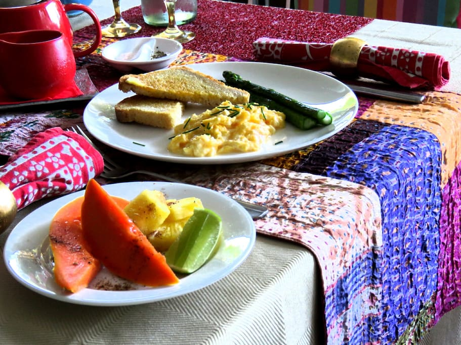 Breakfast included, consisting of homemade sour dough bread, free range eggs and seasonal local fruit.