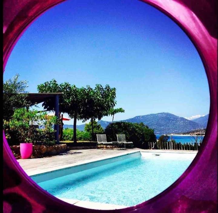 villa T4, 100 m de la plage, piscine, vue mer