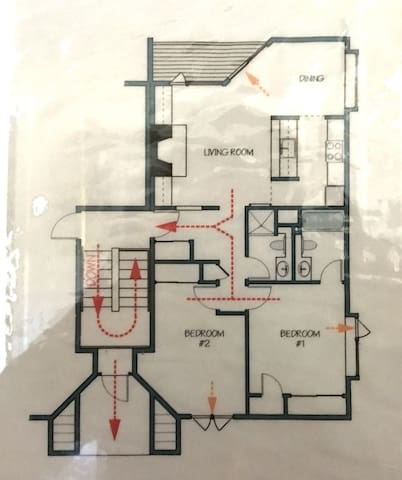 Diagram of the unit which is all on one floor.  The area is 1000 sq. feet.