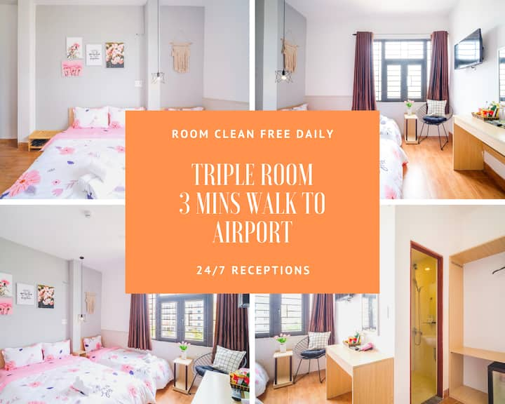 Triple Room - 3 pax - 3 mins walk to Airport