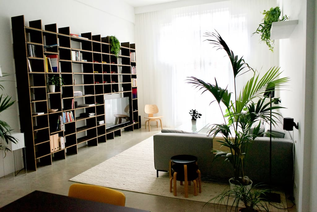 The living room, where you can relax after a day exploring the city.