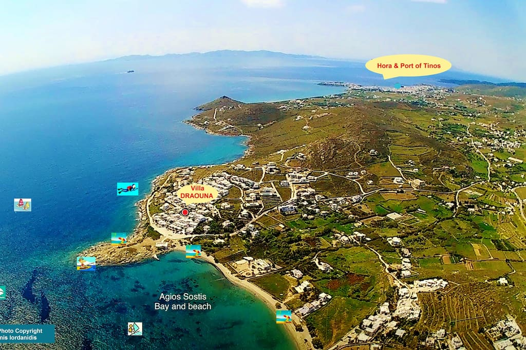 Drone photo of Agios Sostis area. Villa Draouna is marked with a red circle. Just 80m from the beach with stunning views of Aegean and Delos Island.