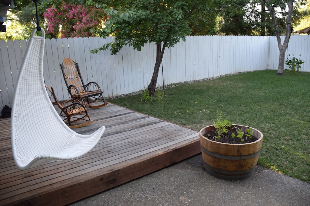 Relax in our quiet, enclosed backyard.