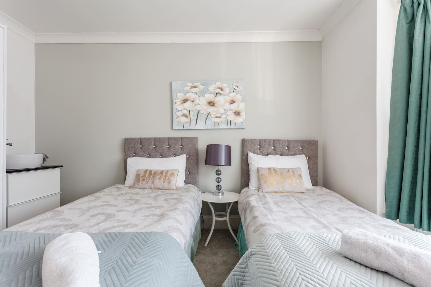 Single occupancy    Twin or double with adjoined beds  Kettle coffee tea etc Wardrobe   hair dryer   toiletries Stylish basin in the room View over park  Quiet residential area