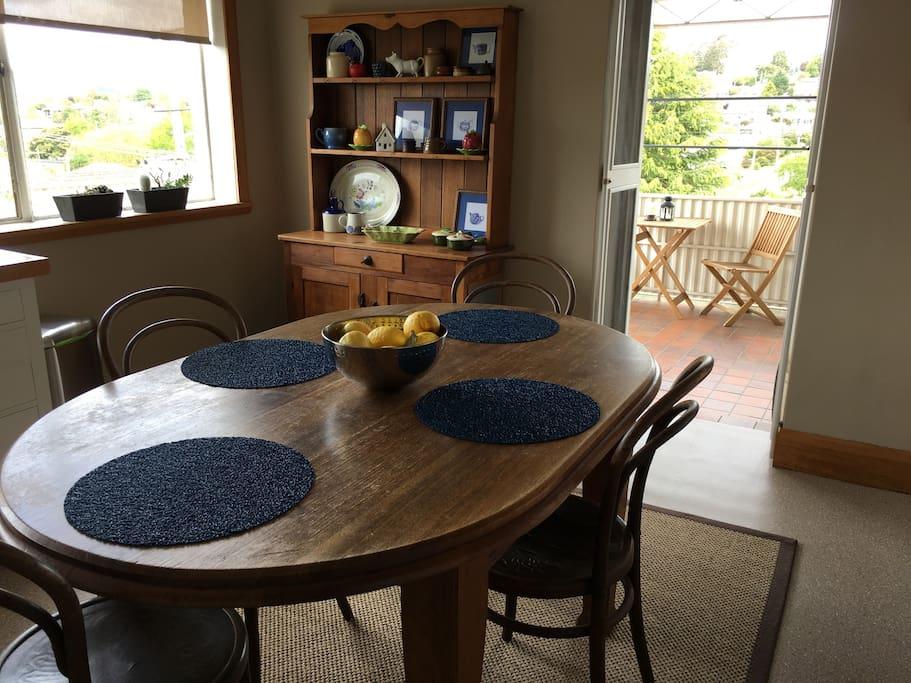 Kitchen opening onto patio