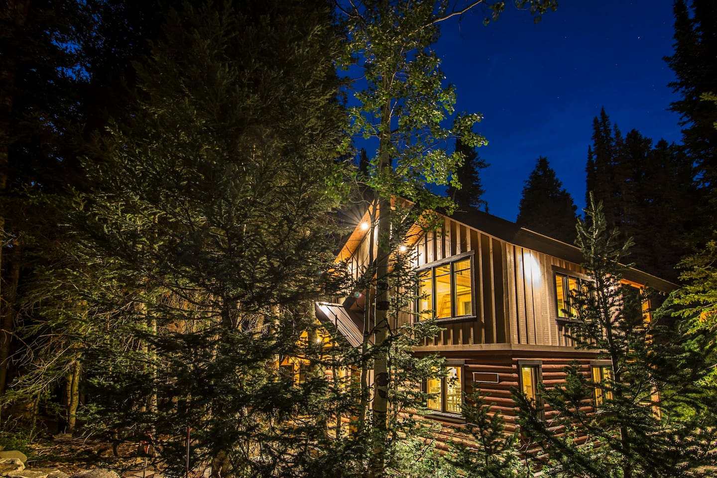 Front of the cabin at dusk