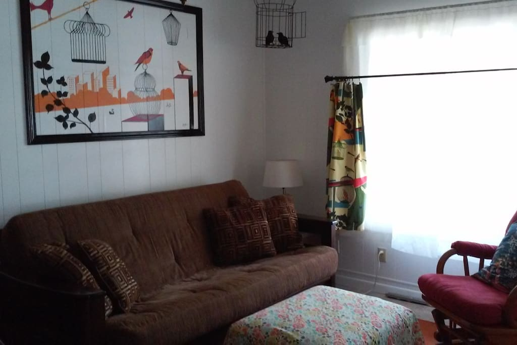 Comfy living room with full size futon fold out couch.
