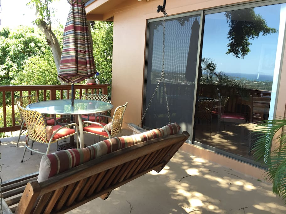 Lanai with outdoor dining and tree swing.