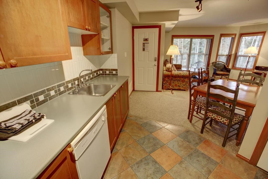 Tons of counter space in the fully equipped kitchen.