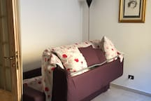 Semi-forded couch bed