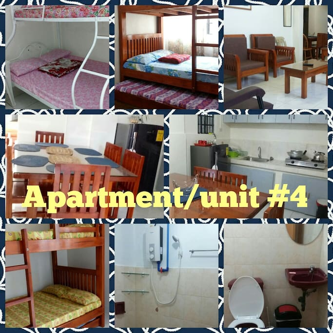 The apartment has its own kitchen, dining, sala and 1 c.r. with basic house amenities. Includes kitchen and dining utensils, can cook. Own ref, tv with cable, hot shower, clean beddings, no wifi. This particular apartment can accommodate a maximum of 14-15 persons because it has 3 bedrooms. For more pictures check out our fb page: VALLEY HIGH VACATION HOUSE