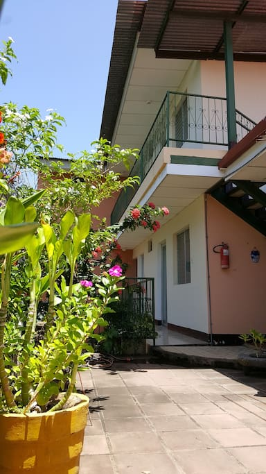 A view of our rooms from the garden.