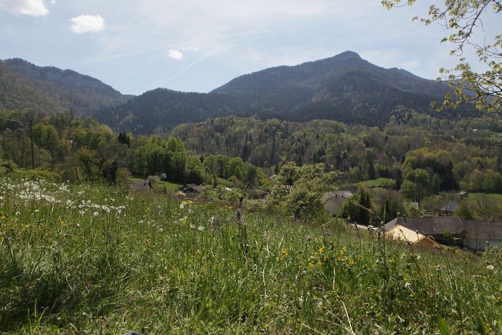 """hameau les Vauthiers et Montagne du Revard depuis le haut du jardin (qui signifie """"de Bonne Augure"""")"""