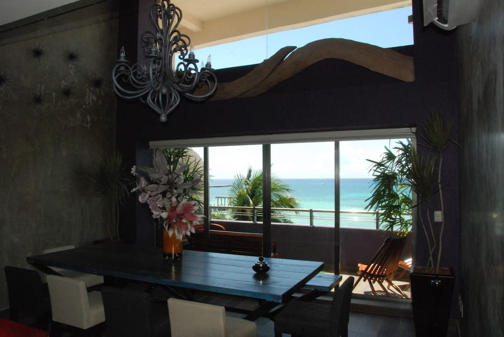 dinning room with ocean view