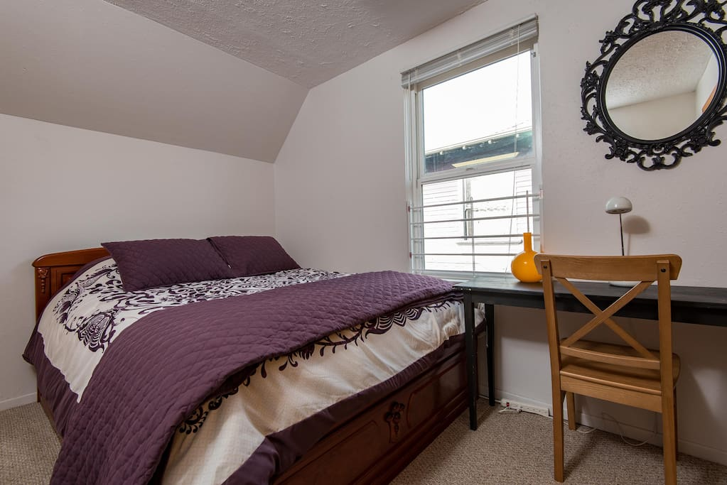 The second bedroom has the brand new Queen size bed, closet and desk.