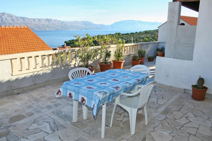 One bedroom apartment with terrace and sea view Postira, Brač (A-2919-a)