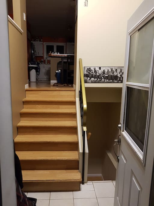 Entrance, bedroom is up the stairs