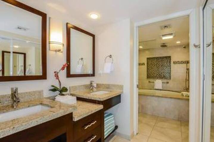 Master bathroom with vanity area