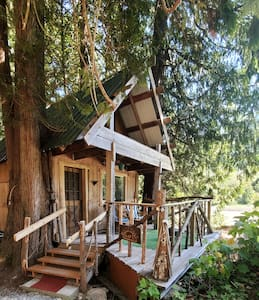 Secluded rustic cabin on the Mighty Fraser River.