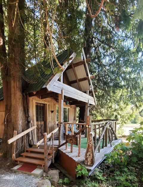Secluded rustic cabin on the Mighty Fraser River