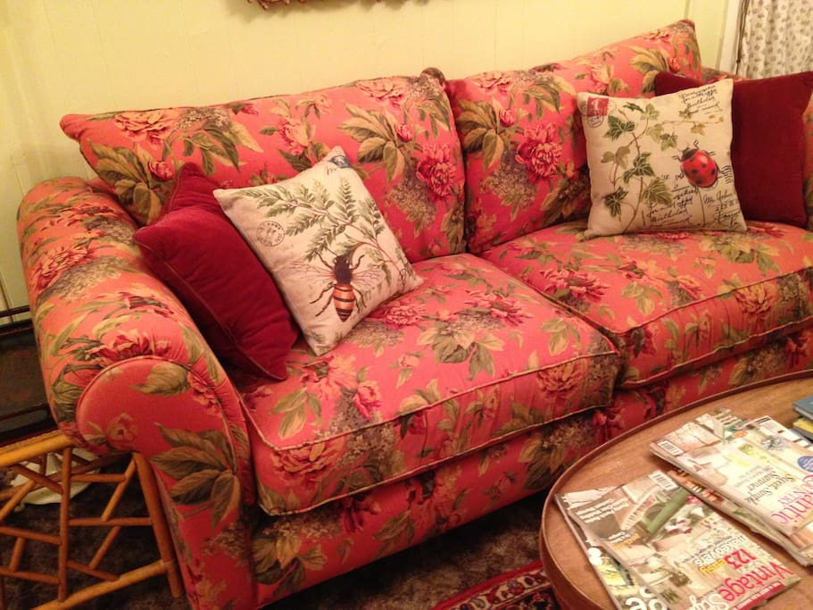 Sink into a soft chintz sofa for a needed nap.