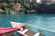 The Blue Lagoon is a beautiful swimming spot!  Swim through the lagoon to the Fountain of Youth if you dare!  The lagoon was once thought to be bottomless but is really a profound 180 feet deep! There is also a legend about a sea monster, watch out!