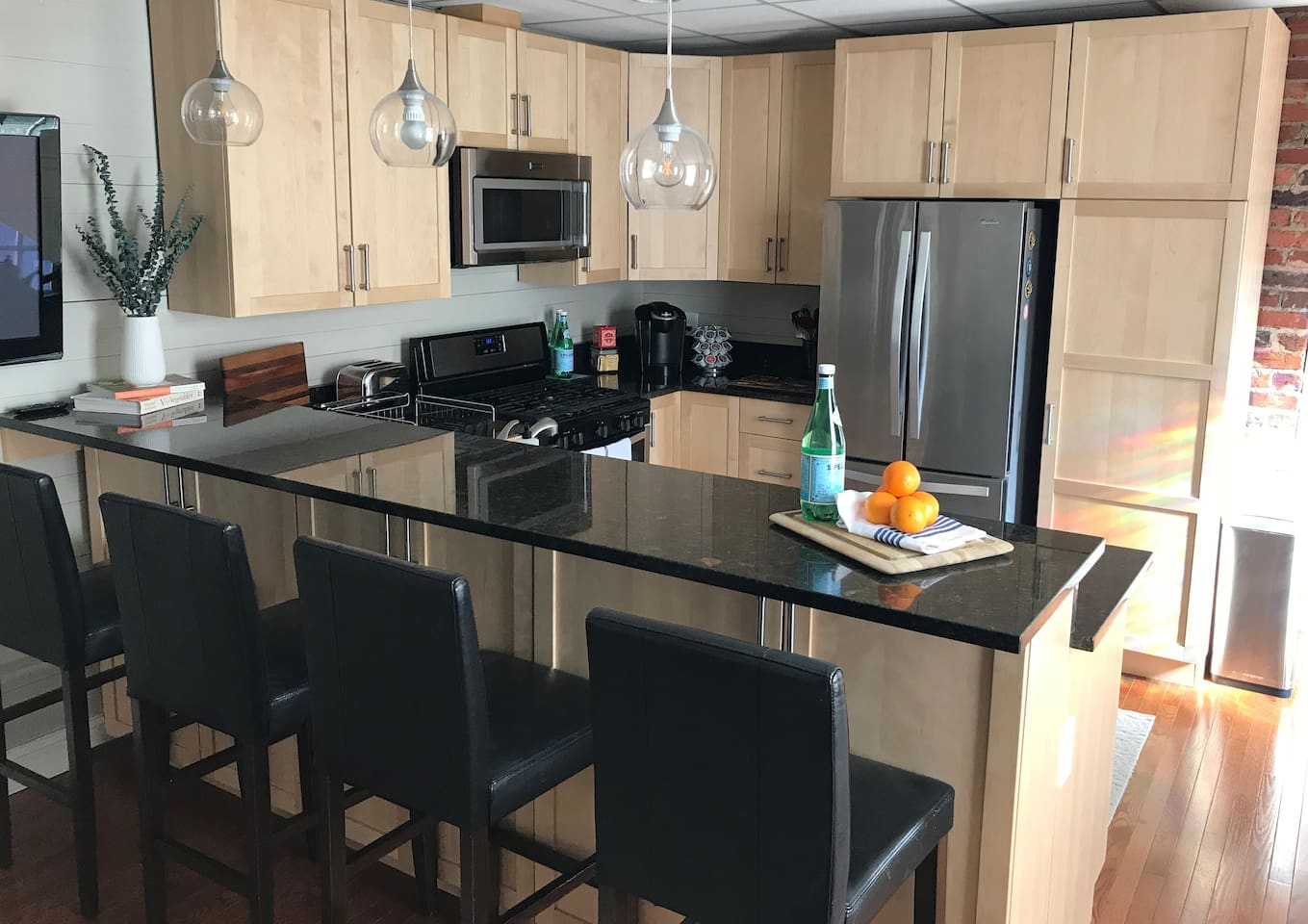 Welcome to the Downstairs Suite!  Here you will find everything needed to find your cool; whether for a long or short trip away from home.  We offer a full kitchen including, a large living room with an oversized sofa, 3 bedrooms, and a full bath.