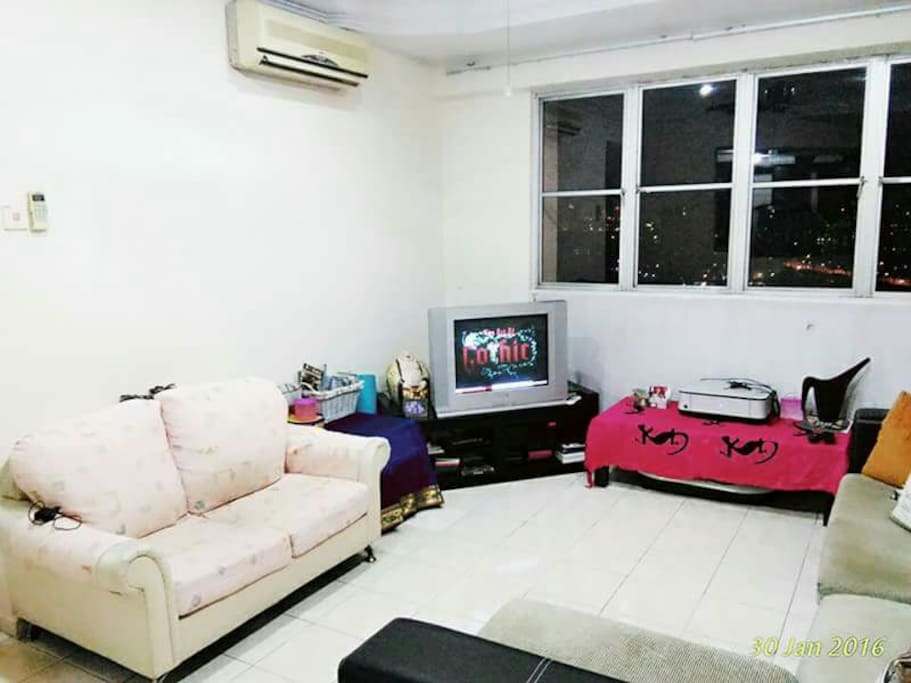Air conditioned living room, fan, tv, astro, DVD, printer