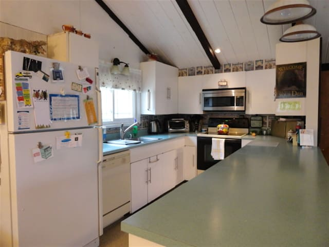 U shaped kitchen with dishwasher, trash compactor, ceramic top stove, ice maker.