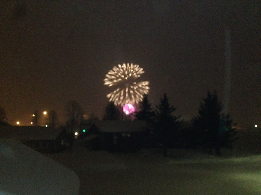 New Years fire works at harbor from the Denali room.
