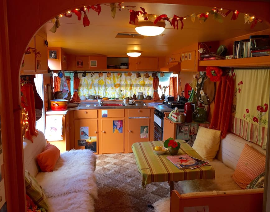Kitchenette and sitting area (she's quite spacious for a van...)