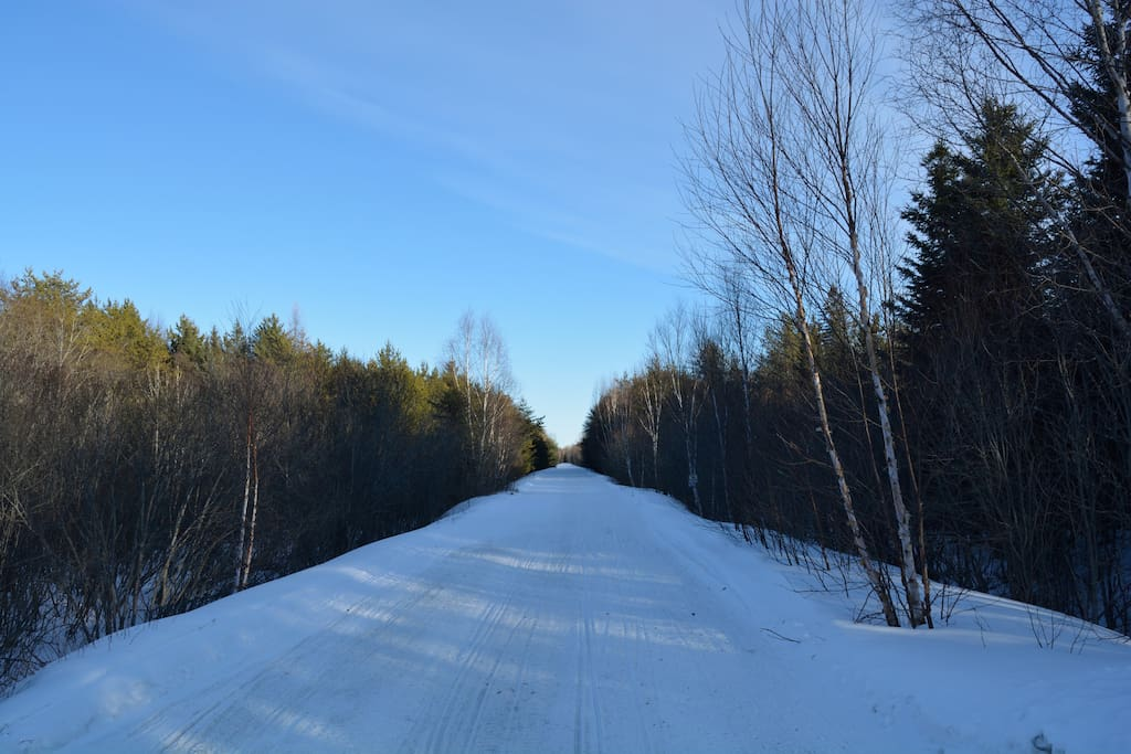 Snowmobiling trail, alpine skiing, snowshoeing, hiking trail