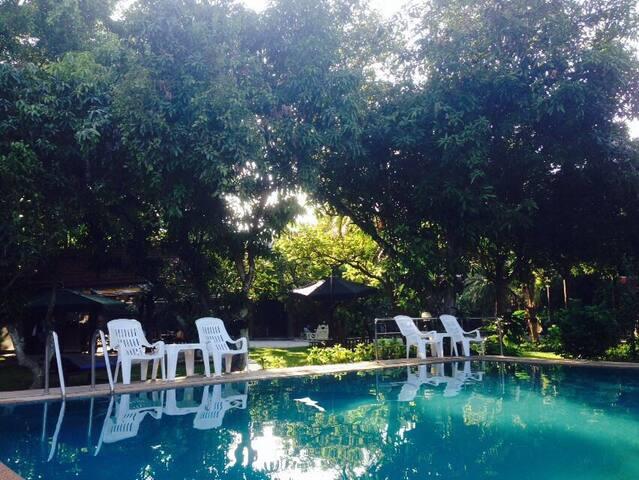 Teak house/Garden/swimming pool/2 guests(泰式建筑花园泳池)