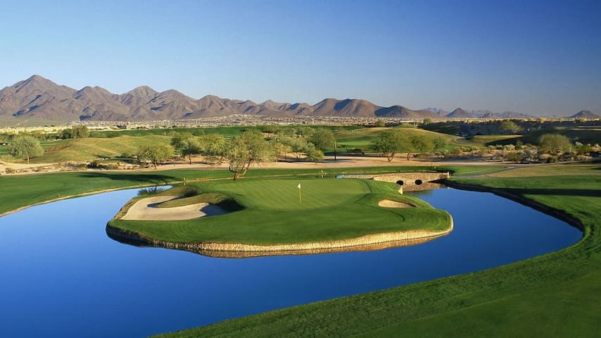 TPC Scottsdale golf club and Phoenix Open golf tournament. TPC Scottsdale features two par-71 golf courses. Just a 9 min ride away