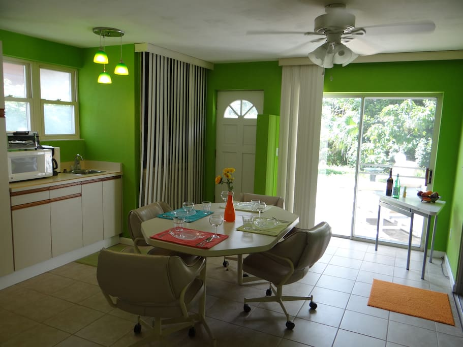 The dining room and wet bar.  This is a lovely spot to eat meals, play board games, or just sit and chat the night away.