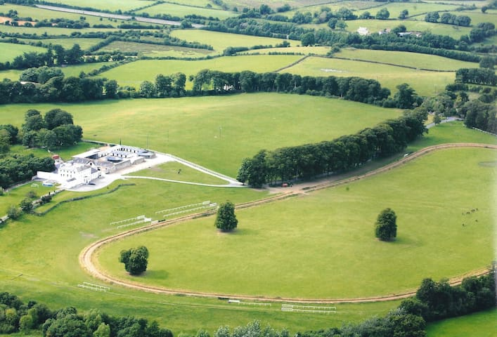Aerial view of farm and gallop