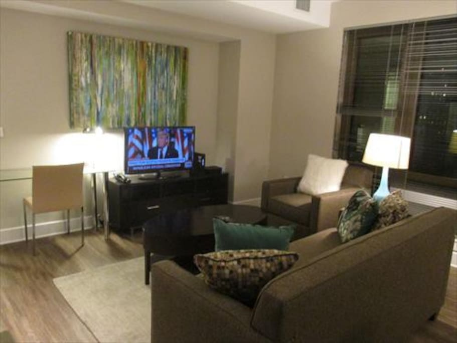 Comfortable living room with pullout sofa bed and club chair.