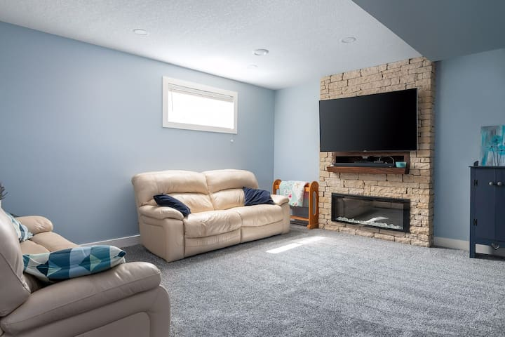 Our open concept living area is warm and inviting with power recliner seating, an electric fireplace and HD tv with Netflix, Prime and YouTube access. Wifi is also available at no cost. We also have a wifi booster.