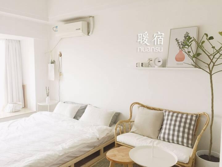 暖宿「HOME云汐」极米巨幕投影|仓山万达旁45㎡整套公寓|高层观景|五星乳胶床|爱琴海|机场大巴
