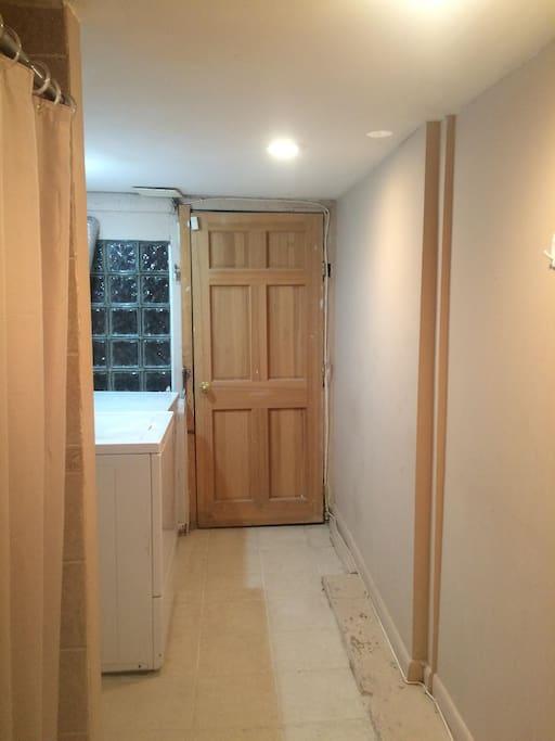 View of basement door passage way.