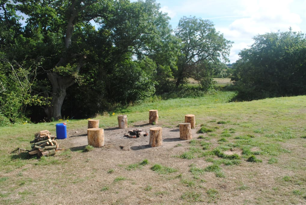 Campfire and seating area