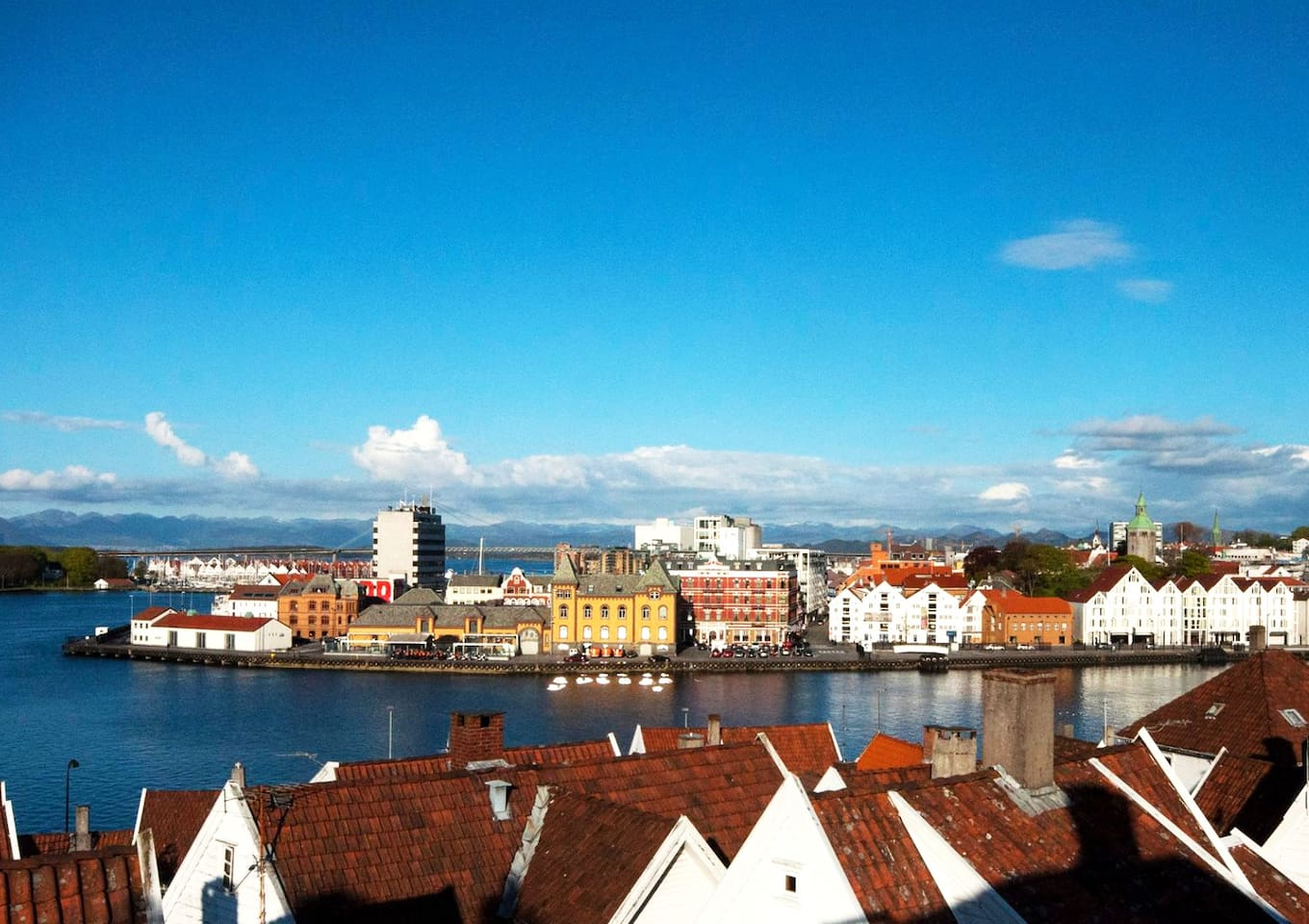 Stunning view from the flat to the fjords and the city