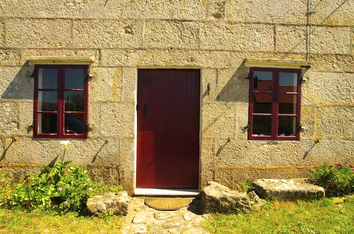 Old stone forest Galician cottage